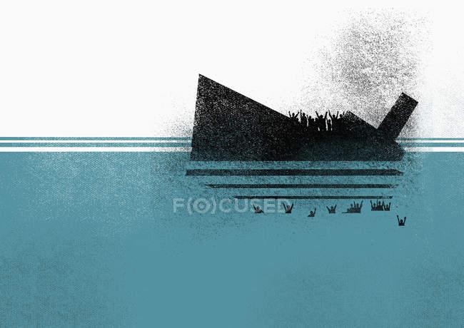 Illustrazione di affondamento di navi e persone in mare — Foto stock