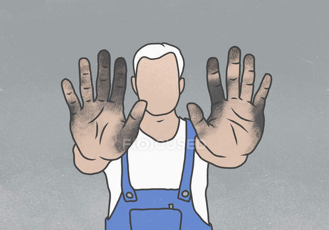 Faceless manual worker showing messy hands while standing against gray background — Stock Photo