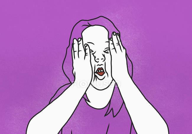 Illustration de la femme avec la tête dans les mains sur fond rose — Photo de stock