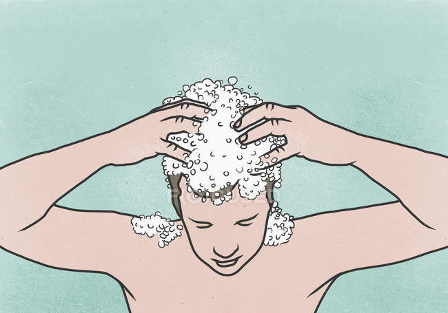 Illustration of man washing his hair against colored background — Stock Photo