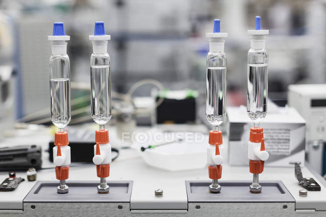 Close up view of scientific machinery at laboratory table — Stock Photo