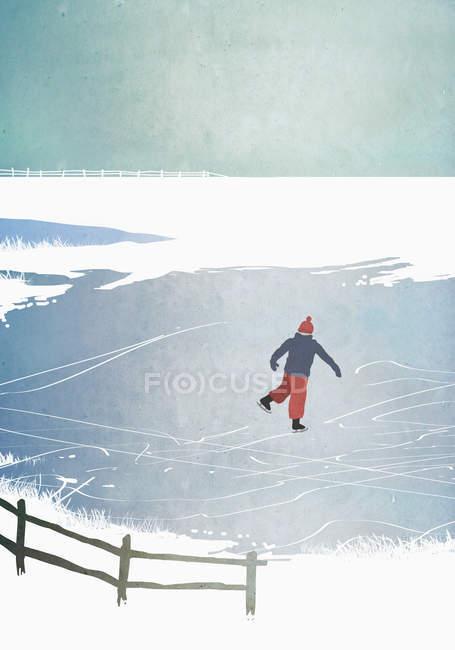 Иллюстрация человек на коньках на замерзшем озере — стоковое фото