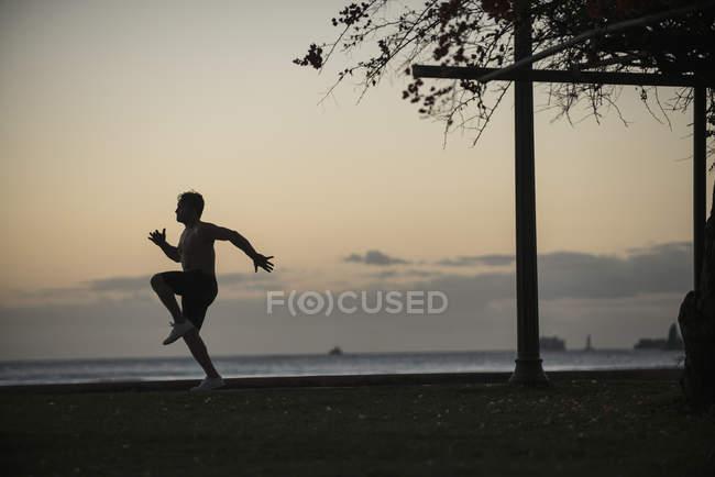 Силует людина бігу в парку морем на заході сонця — стокове фото