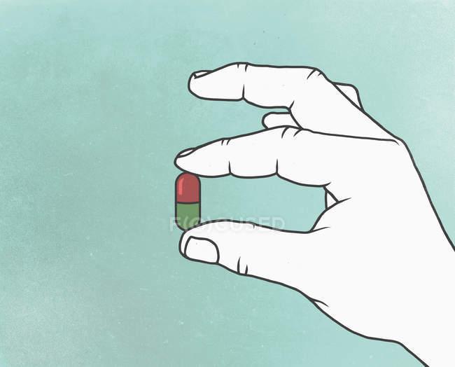 Illustration der Hand, die Kapsel — Stockfoto