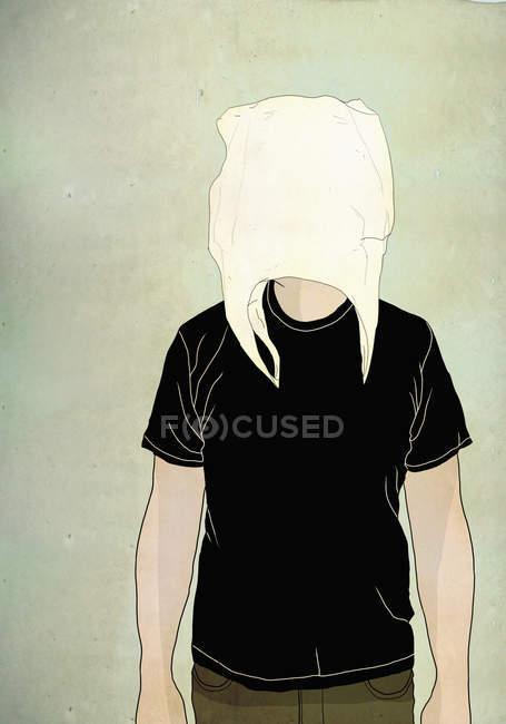 Illustration of male wearing shopping bag on face against colored background — Stock Photo