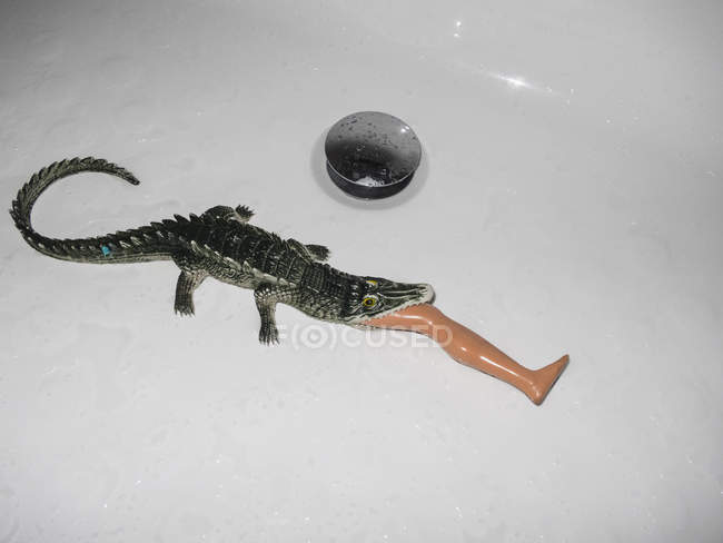 High angle view of crocodile toy eating plastic leg in white sink — Stock Photo