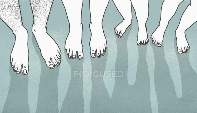 Low section of people with bare feet — Stock Photo