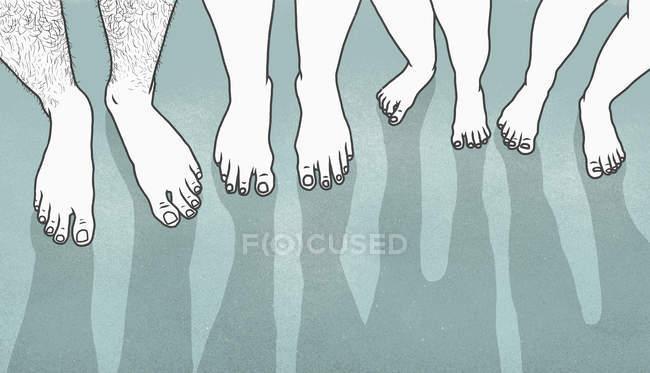 Низкая часть людей с босыми ногами — стоковое фото