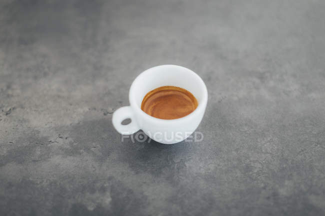 High angle view of fresh espresso on table at cafe — Stock Photo