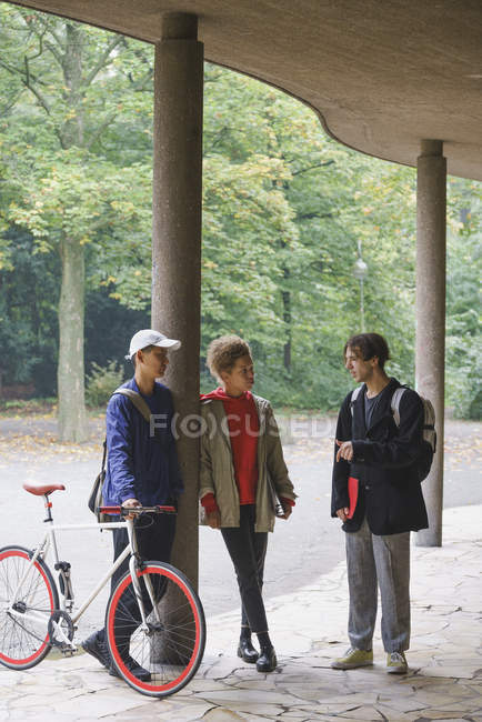 Happy friends talking while standing in gazebo against trees at park — Stock Photo