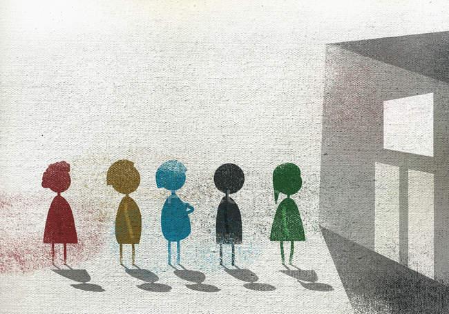 Иллюстрация детей, стоящих в очереди по школьному зданию, представляющему образование — стоковое фото