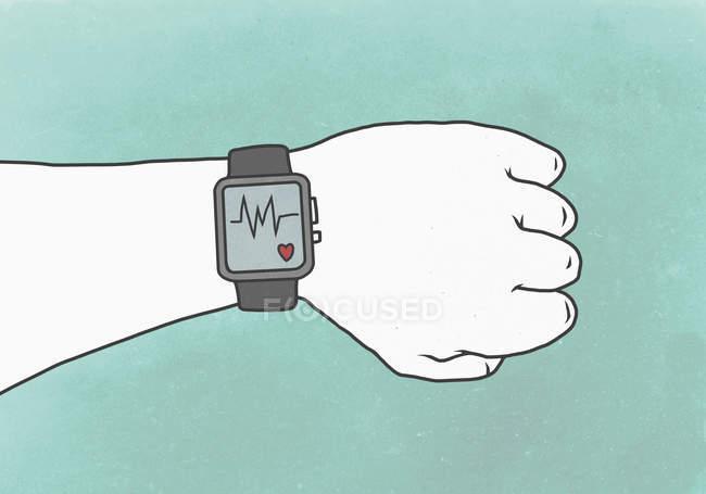 Crop Hand trägt Smart Watch mit Pulsspuren, die einen gesunden Lebensstil repräsentieren — Stockfoto