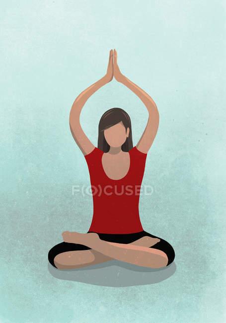 Ilustración de la mujer sentada en posición de loto - foto de stock