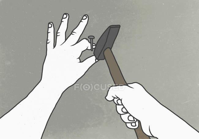 Illustration von Hand hämmert Daumen an Wand — Stockfoto