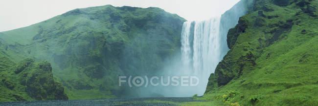 Panoramic view of Skogafoss Waterfall, Iceland — Stock Photo