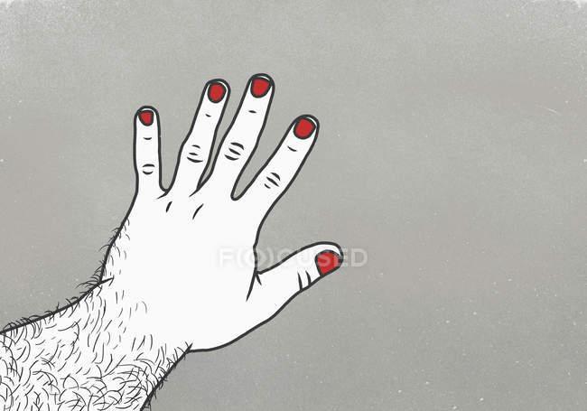 Imagen recortada del hombre con esmalte de uñas rojo en el dedo contra fondo gris - foto de stock