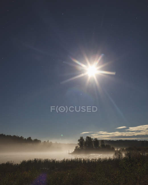 Scenic view of sun shining over lake in forest — Stock Photo