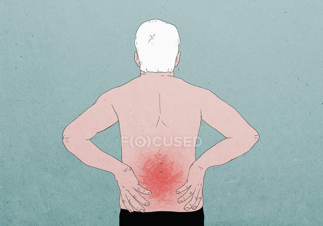 Illustrative image of shirtless man suffering from backache against colored background — Stock Photo