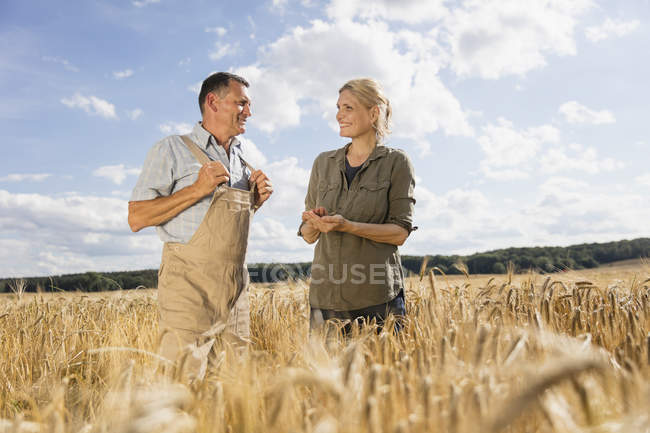 Happy mature couple talking while standing amidst crop in farm — Stock Photo