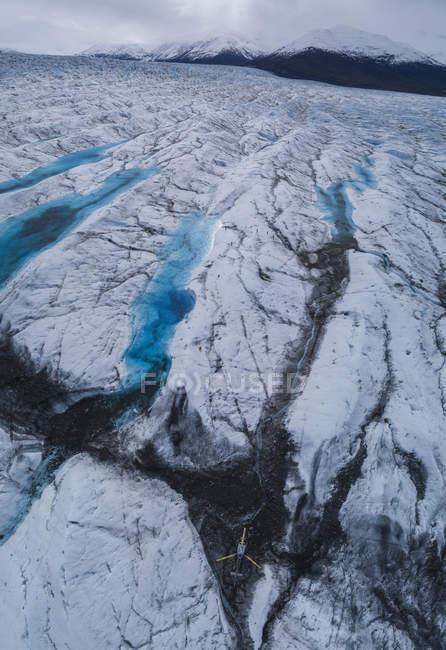 Drone view of glacier, Saas Fee Wallis, Switzerland — Stock Photo