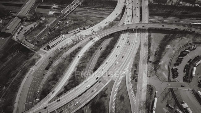 Aerial view of vehicles on highways — Stock Photo