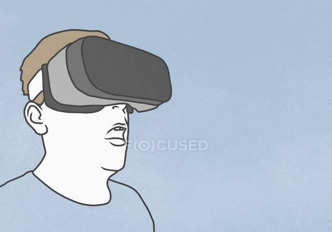 Людиною, в окулярах віртуальної реальності синім тлі — стокове фото