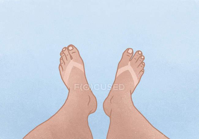 Ілюстрація ноги з Тан лінією синього тлі — стокове фото