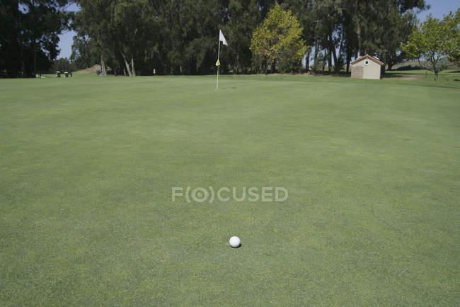 Golfball auf leerem Putting Green — Stockfoto