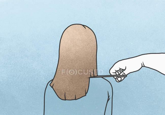 Image illustrative des cheveux de la main coupe femme sur fond bleu — Photo de stock