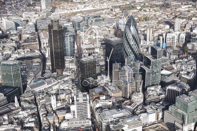 Vista aérea de los edificios del distrito financiero - foto de stock
