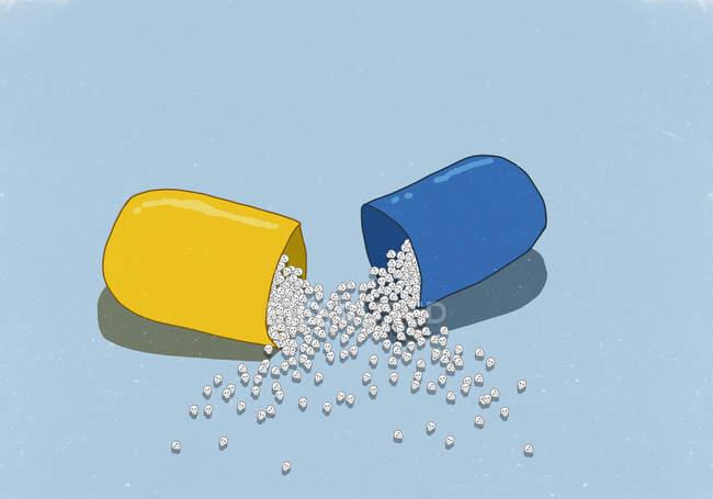 Immagine illustrativa dei teschi in capsula aperta su priorità bassa blu — Foto stock