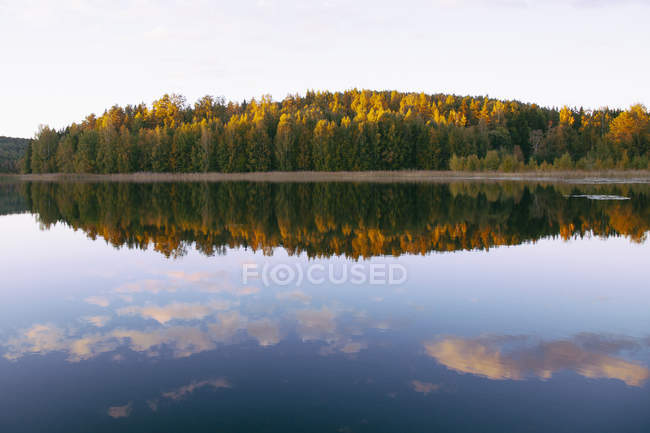 Scenic view of autumn trees nu calm lake — Stock Photo