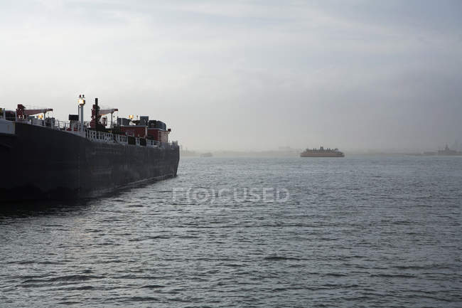 View of freighters on New York Harbor on sunny day — Stock Photo