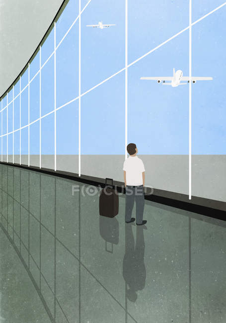 Illustration of man standing by luggage at departure area and looking at airplane taking flight — Stock Photo