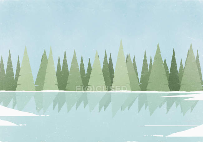 Ілюстрація відображенням дерева на каток проти зніміть Синє небо — стокове фото