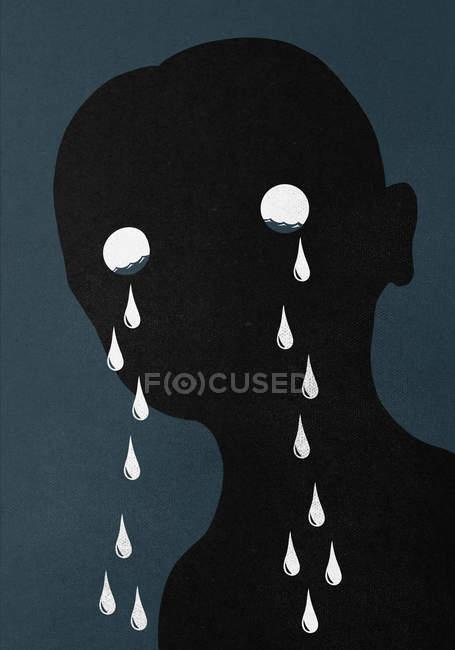 Illustration of man crying against blue background — Stock Photo