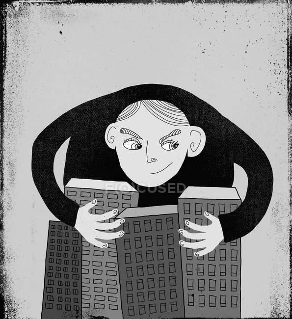 Ilustración del hombre con brazos alrededor de edificios - foto de stock