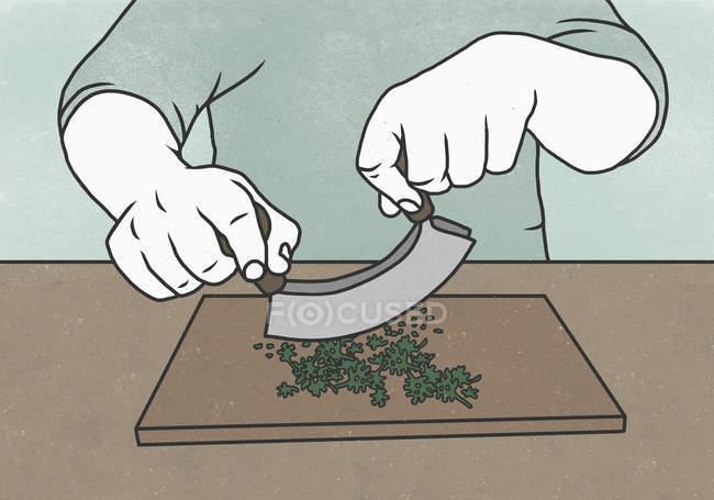 Sezione centrale dell'uomo che taglia le erbe con il coltello da macinare sul tagliere — Foto stock