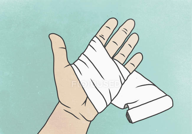 Illustration of hand with wrapped bandage on palm against colored background — Stock Photo