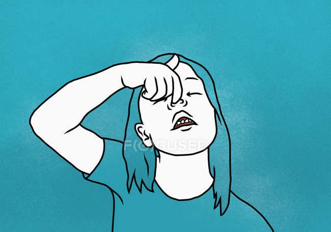 Illustration de femme tirant nez sur fond bleu — Photo de stock