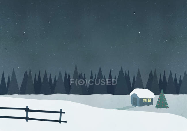 Illustration of hut on snow field against sky at night — Stock Photo