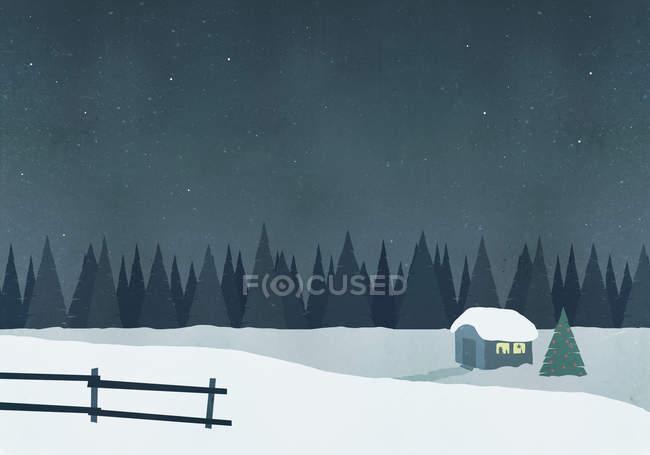 Иллюстрация хижине на снежные поля против неба ночью — стоковое фото