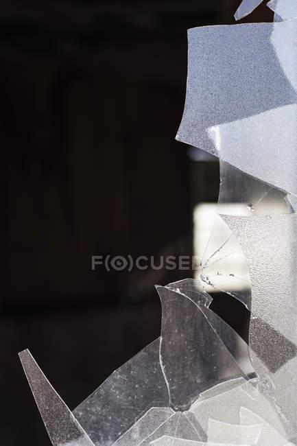 Close up view of broken glass window — Stock Photo