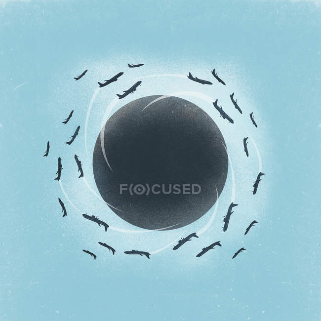 Illustration of little planet with airplanes flying around — Stock Photo