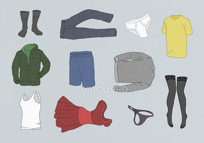 Various clothes against gray background — Stock Photo