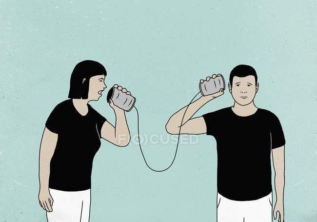 Ilustração do casal se comunicar através de telefones de lata contra o fundo colorido — Fotografia de Stock