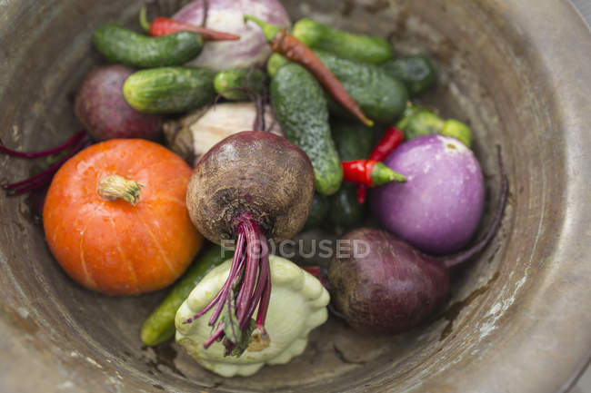 Directly above shot of various vegetables in bowl — Stock Photo