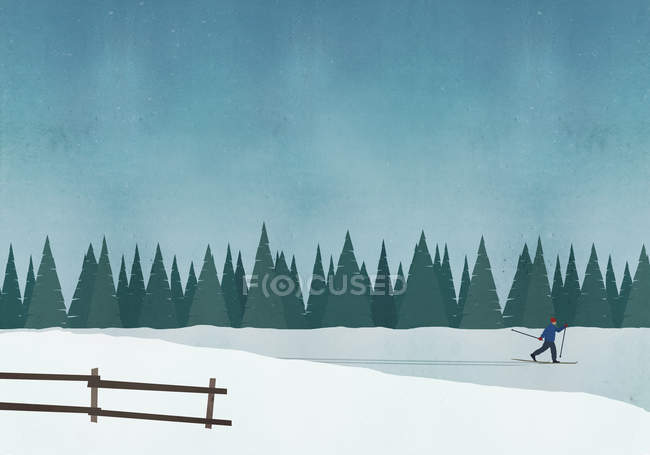 Illustration of man skiing against blue sky — Stock Photo