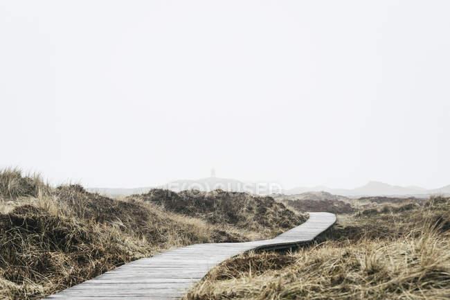 Calçadão em campo contra o céu em nevoeiro — Fotografia de Stock
