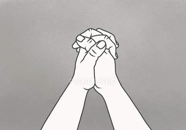 Cropped image de mains jointes sur fond gris — Photo de stock